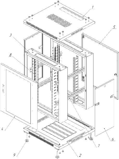 Схема телекоммуникационныйнапольный шкаф NTSS серии «Премиум»